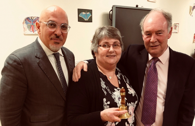 Diana Wheeler from Alcester accepting the award for her branch from Nadhim Zahawi and Philip Seccombe